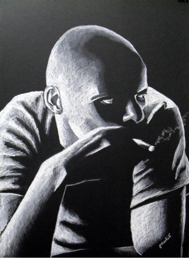 "<br />""Chlápek v baru"", olejový pastel na černém papíře <br /> ""Guy in a bar"", oil pastel on black paper <br /> 50x70 cm <br />"