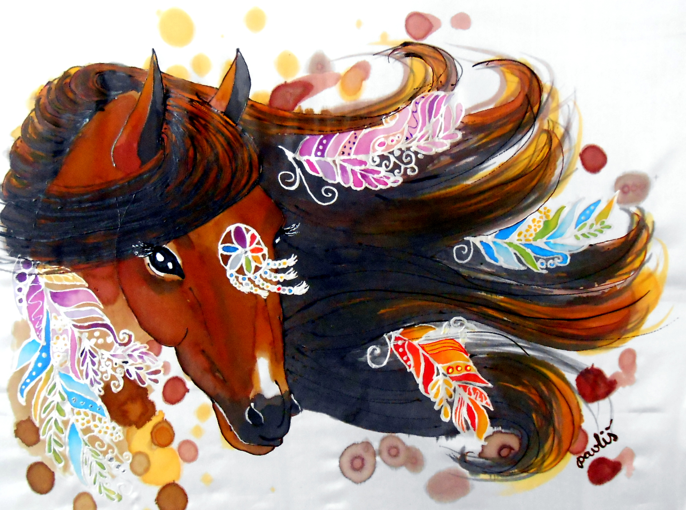 "<br />""Ladná - duchovní sestra, indiánský kůň"", akvarel na hedvábí <br /> ""Graceful - spiritual sister, indian horse"", watercolor on silk <br /> 30x40 cm <br />private collection"