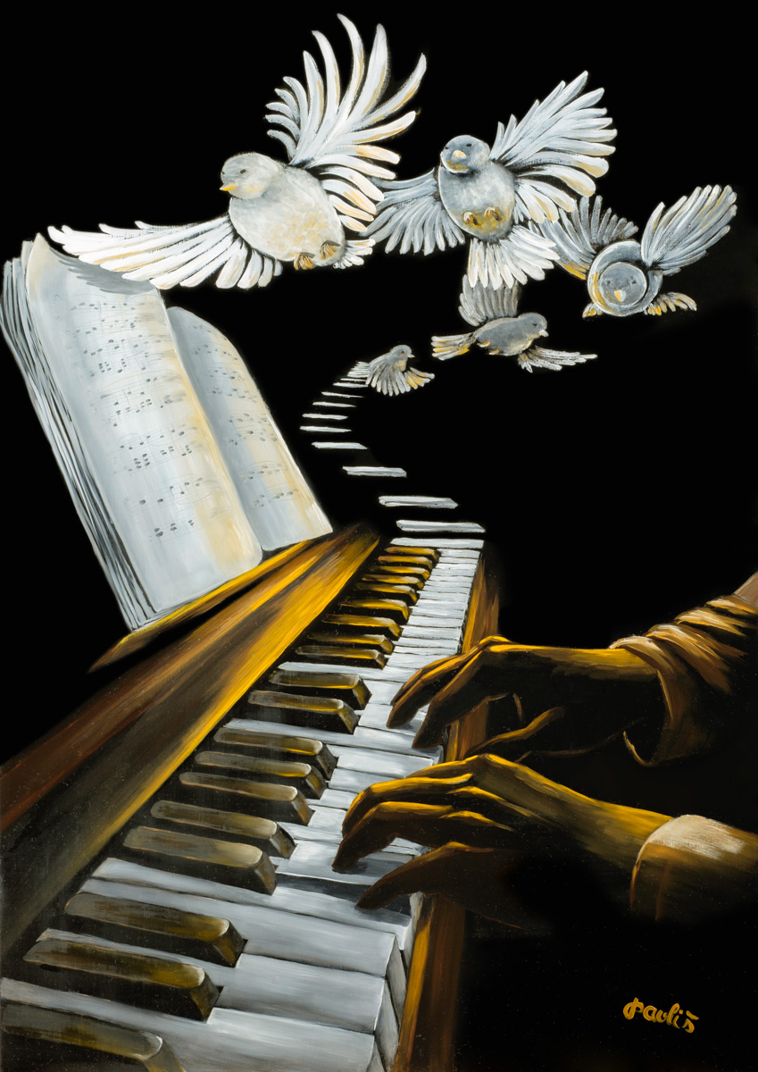 "<br />""Klavírista"", olejomalba na sololitu <br /> ""Pianist"", oil on board <br /> 100x70 cm <br />38.000,- Kc / 1.400 EUR<br />"